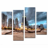 art deco city - LK478 Panel Chicago Trunk On Beach Near Modern Buildings Wall Art Painting Pictures Print On Canvas City The Picture For Home Modern Deco