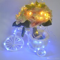 bicycle wire basket - Fashion Handmade White Bicycle Shaped Bike with Flower Basket Copper wire Led String light Wedding Party Table Decoration Gift