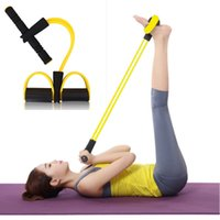 Wholesale Fitness Resistance Bands yoga Pedal Exerciser Dynamic Pedal Bodybuilding Expander Latex Tube Foot Elastic Pull Rope Thin Waist Motion Sit up