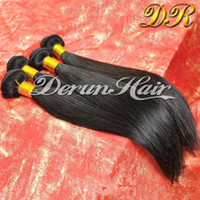 venda por atacado indian hair-Peruivan malaio Indian Brazilian Bundles cabelo Unprocessed Straight Cabelo Humano Weave 3pcs Dyeable Extensões de cabelo Double Weft