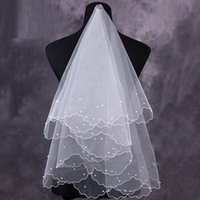 Wholesale Only Cheap Bridal Veils Handmade Pearls M Length White Ivory Short Tulle Wedding Veil Bridal Accessories In Stock