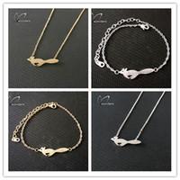 Wholesale 10sets Stainless Steel Minimalist Cute Fox Pendant Necklace Bracelet Fine Jewelry Sets for Women S27