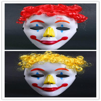 adult halloween wigs - Halloween Plastic Mask for Adult Fashion Dance Party Cosplay Clown Comedy PVC Mask Venetian Mask Masquerade Full Face Masks with Wig