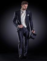 beige ottoman - Blue Striped Ottoman Formal Suit With Ivory Jacquard Waistcoat Custom Made Groom Tuxedos Jacket Pants Vest
