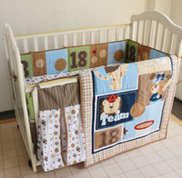 baseball crib bedding - 8Pcs Baby bedding set Embroidered bear Baseball combination Crib bedding set Quilt Bumper Bed Skirt Diaper bag Cot bedding set