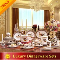 Wholesale Porcelain dinnerware set bone china horses design outline in gold dinnerware sets dinner set coffee set wedding gift