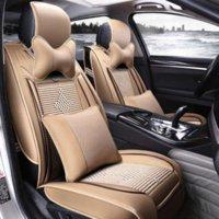 Lce soie de luxe en cuir Full Surround Car Covers Seat Cover Four Seasons général voitures avec coussin de soutien et Têtière Lumbar