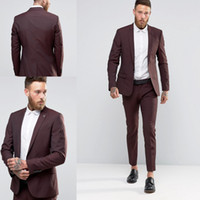 Wholesale Cheap One Buttons Slim Groom Tuxedos Two Pieces Groomsmen Best Man Suits Mens Wedding Suits Groom Wear Jacket Pants Custom Made Suits