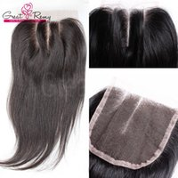 Wholesale 3 Way Part Lace Top Closure x4 Hairpieces Brazilian Virgin Human Hair Extensions Silky Straight Natural Color Lace Front Closure