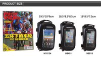 Wholesale 3 Colors Roswheel Cycling Bike Bicycle Frame Front Tube Phone Bag PVC with Audio Extension Line for H9401 H9518 H10134