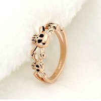 Wholesale Hot Selling South Korean high end jewelry personalized Design retro skull ring Champagne Gold and Retro silver for Birthday