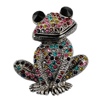 Wholesale rhinestone frog brooches mixed color wedding brooch female fashion jewelry good gift