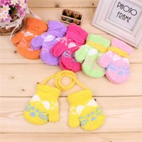 Mittens Unisex 4-8T Christmas Gifts! 12pairs Infant Baby Childrens Toddlers Winter Printed Finger Gloves Warm Cashmere Mittens Free Shipping Kids Product 2T-5T