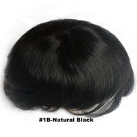 Wholesale Stock natural black toupee for men human hair French lace with PU hand made with human hair