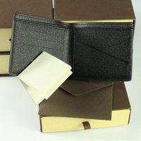 Wholesale New Men Luxury Brand Leather Wallet Fashion Men Purse Arteira Masculina Short Coin Pocket Men Purse Luxury L Brand V Carteras With Box