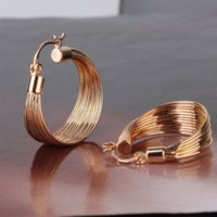 Wholesale GULICX Brand Luxury Party Large Hoop Earings k Gold Plated Big Hoop Earring for Women Circle Earrings Jewelry for Wedding E412