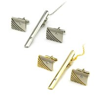 Cuff Link and Tie Clip Sets bar cufflinks - New Arrival Men Tie Clasp Cufflinks Set Wedding Metal Necktie Pin Clips Gentleman Tie Bar Business Gift YE0015
