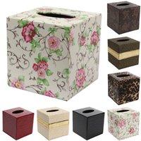 bathroom paper napkins - PU Leather Tissue Box Case Home Table Bathroom Decor Square Elegant Paper Napkin Holder For Office Car Hot