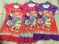 bebê crianças roupa da pata do cão pijamas 2016 novo verão de algodão dos desenhos animados Ruffle hem roupa extra confortáveis crianças homewear pata Snow Patrol corrediça