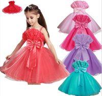Wholesale Retail new Girls Dress Girl sleeveless Dress Festive gauze tutu Dress bowknot Dresses Wedding Party Flower Girl Dresses Y