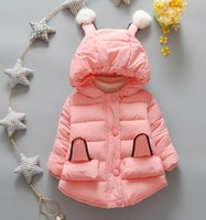 Wholesale New autumn and winter cotton padded clothes solid color children s cotton coat girls fashion cute hooded padded jacket