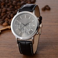 ar mm - Fashion popular Top Brand AR Men s Leather strap Date Calendar quartz wrist Watch with logo