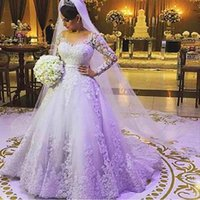 Wholesale Hot Sale Charming Plus Size Ball Gowns Long Sleeve Wedding Dresses Lace Long Tail China Bride Bridal Gowns Robe De Mariee Wedding Gowns
