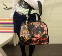 Bolsas de hombro hotsell flor de la impresión del bolso mujeres de la señora de la muchacha de la moda retro maletín de cuero sintético medianas Cross-Body