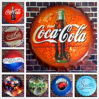 Wholesale Vintage Metal Iron Round Sign coke for drinking beer bottle cap Vintage Tin Sign Drinking Bar pub home Wall Decor