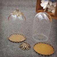 Wholesale 10pcs mm tube glass globe bottle with bronze lace base set glass dome cover glass vial pendant charms handmade glass vial jewelry