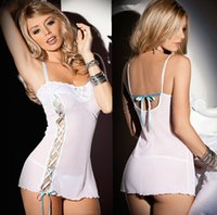 Wholesale New Hot Underwear Sleepwear Women Sexy Lingerie Stretchy Mini Chemise Dress Bodysuit Sleepwear Solid Lace White