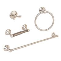 bathroom towel bar set nickel - 4pcs Modern Brushed Nickel Bathroom Hardware Accessory Set Towel Bar Hook Holder