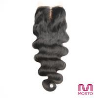 Encierro indio malasio brasileño del cordón del pelo de 7A Cierre natural del pelo de la onda de la onda del cuerpo recto negro natural de la parte media 1B de la parte libre