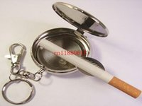 Wholesale 100pcs Pocket Stainless Steel Portable Round Cigarette Ashtray With Keychain Mini Cigarette Ashtray