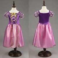 Wholesale Hallowmas Cosplay Girls Rapunzel Fancy Dress Costume Kids Princess Outfit Suitable Ages Years