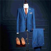 Wholesale 2017 New Model Custom One Button Blue Mans Formal Wear For Parties Tuxedos Coat Pants Vest FS301 Slim Fit Mans Suits