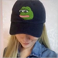 baseball european - European hot sale baseball cap fashion sad frog in black embroidery snapback hat unisex baseball cap hat golf