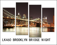 beige walls - LK460 Set RED BEIGE Modern Wall PaintingBROOKLYN BRIDGE NIGHArt Canvas Wall Picture Decoration Home Combined Modern Canvas Oil A