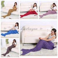 Wholesale Fedex DHL Free cm Mermaid Tail Sleeping Bag Adult Mermaid Tail Blanket Handmade Crocheted Sofa Blankets Cocoon Knit Sofa Blankets Z415