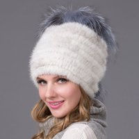 Wholesale Winter Womens Hats Genuine Mink Fur Hat With Fur Pom Poms Handmade Spring Knitted Cap Russian Style