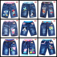 Wholesale children summer pants kids trousers latest styles baby boys girls denim shorts cars pig poli mickey elsa minions cartoon