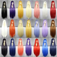 Wholesale 80cm Harajuku Anime Cosplay Wigs Young Long Straight Synthetic Hair Wig Bangs Blonde Costume Party Wigs For Women Colors ZA0124