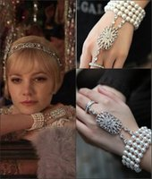 ball pearl rings - Fashion Faux Pearls Bridal Bracelets The Great Gatsby Heroine Series Bridal Pearl Bracelet with Crystal Rings Set Bride Jewelry CPA238