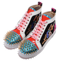Lace-Up Unisex Spring and Fall Fashion Red Bottom Shoes Strass Gold Spikes No Limit Embroidery High Top Sneaker Shoes Men,Women Luxury Party Wedding Shoes 35-46