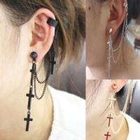 Wholesale Popular Personality Punk Metal Cross charm Tassel Ear Cuff Earrings For Women boucle d oreille boucle