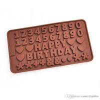 baking tray number - 100PCS English letters HAPPY BIRTHDAY numbers shape Silicone Chocolate Cookies Baking Mould Ice Cube Mold Tray cake decorating tools