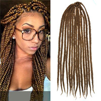 Wholesale Kanekalon Senegalese Large g Strands Medium Brown Box Braids Crochet Twist Braiding Synthetic Hairs inch with Free Crochet Hook