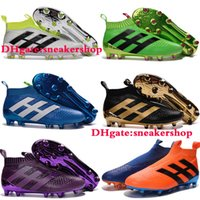Wholesale 2016 Kids Mens Women Soccer Cleats ACE Purecontrol FG Children High Tops Football Boots Sales Boys Soccer Boots Youth Soccer Shoes Green
