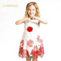 best designer clothing - Brand lace flower girl dresses Designer children clothing Quality printed round neck sleeveless dress Best suppliers from china