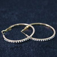 Cheap Hot sale earrings circle round gold sliver plated 30mm 40mm pop beauty jewelry a pair B1069